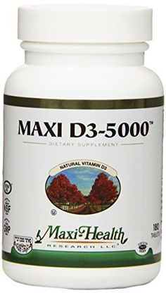 """Maxi Health Natural Vitamin D3 - """"5000 IU"""" - Nutrition Supplement , 180 Tablets , Kosher //Price: $19.83 & FREE Shipping //     #hashtag2"""
