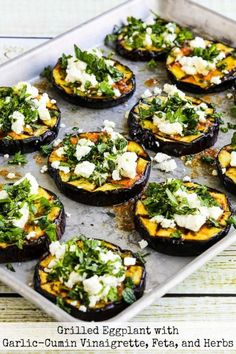 Grilled Eggplant with Garlic-Cumin Vinaigrette, Feta, and He.- Grilled Eggplant with Garlic-Cumin Vinaigrette, Feta, and Herbs - Garlic Recipes, Veggie Recipes, Vegetarian Recipes, Cooking Recipes, Healthy Recipes, Dinner Recipes, Recipes With Feta, Veggie Bbq, Feta Cheese Recipes