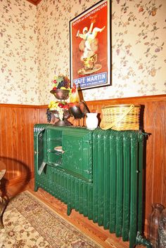 A radiator with a built in warming compartment!  LOVE the green paint on the cast iron.  Again, Tipton, IN
