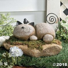 Resting Cat Stone. This lazy kitty will look great sunning itself in your garden. The Resting Cat Stone is made of lightweight resin, with wire whiskers and a ...