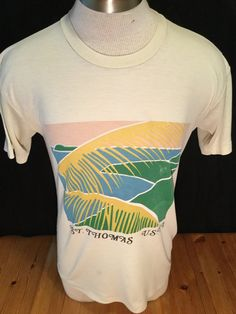 Vintage 1980's Tourist T-Shirt Surf Beach 50/50 size LARGE St.Thomas by 413productions on Etsy