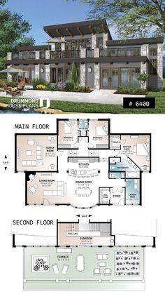 3 bedroom, oceanfront home design, large second floor deck, open floor plan - Sims 4 House Plans, House Plans Mansion, Porch House Plans, Dream House Plans, Modern House Plans, House Floor Plans, Modern Floor Plans, Sims House Design, Home Design