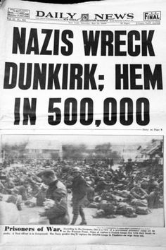 New york Daily news headline ,the end comes to Dunkirk.