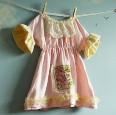 really like the sleeves Toddler Pink Linen Shabby Chic Dress Bird Lace 2T by MyFairMaiden