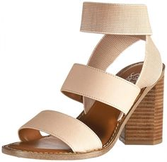 24 Wedding Sandals You Can Definitely Wear Again - tan and brown block heel sandal with elastic ankle strap against white background - Franco Sarto dear heeled sandal, from $42, Amazon