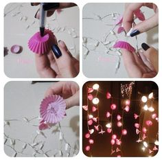 cupcake paper lights ^_^ great for a roof or terrace dinner!
