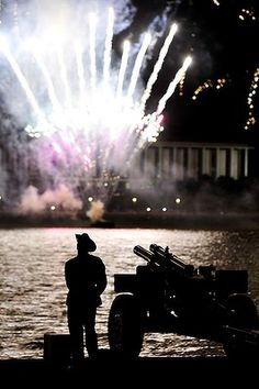 Federation Guard member watches fireworks on Lake Burley Griffin - Canberra