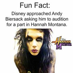 I heard that in one of his interviews and I laughed so hard because I can only imagine Andy on a Disney show...