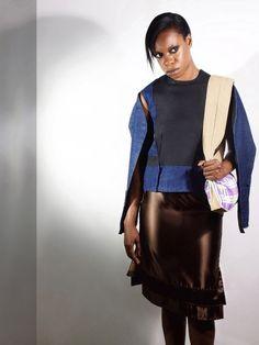 Denim top, skirt and handbag (from Early work) Indiestructible editorial. Model: Savannah Emmannuel Photography: Dimiafoto Fotofragos MUA & Hair: Mundo de la Caracterizacion Stylist: JCBG