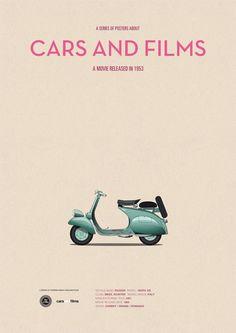Roman Holiday (1953) ~ Minimal Movie Poster by Jesus Prudencio ~ Cars and Films Series