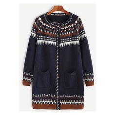 Navy Geometric Pattern Raglan Sleeve Pockets Sweater Coat (€18) ❤ liked on Polyvore featuring outerwear, coats, navy blue coat, raglan coat, pocket coat, sweater coat and navy coat