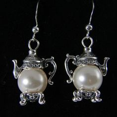 Faux Pearl Silver Teapot Earrings - Tea Jewelry - Roses And Teacups