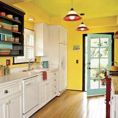 Retro cottage kitchen in yellow, aqua, red and accented with Fiesta-ware.