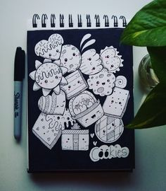 Cute Doodle Art, Doodle Art Drawing, Cute Doodles, Doodle Sketch, Art Drawings, Black And White Doodle, Notebook Doodles, Kawaii, Sketch Painting