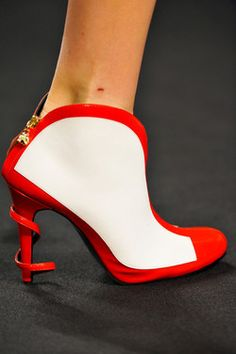 red and white shoe-boot