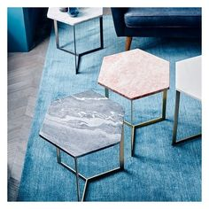 West Elm Hex Side Table, White Marble/Antique Brass ($179) ❤ liked on Polyvore featuring home, furniture, tables, accent tables, gray end table, black side table, grey side table, marble coffee table and gray side table