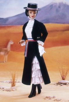 Chilean Barbie® Dolldollsof theworldsouthamerica The Barbie Collector Edition Release Date: 1/1/1998This South American beauty sends a hearty greeting to Barbie doll collectors everywhere! Chilean Barbie doll wears a charming costume based on the clothing of the huaso, or Chilean cowboy, which is worn for roundups and rodeos. Her bolero jacket is worn over a traditional dress with ruffles on the top and a black skirt on the bottom. Her costume sports a hat and sash banded in red, blue
