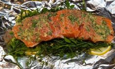 Campfire Cuisine: foil wrapped salmon with herbs and lemon - Posted on Roadtrippers.com!