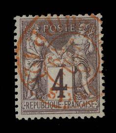 TYPE SAGE - 1879 - N°88 4c LILAS-BRUN (N SOUS U) CAD ROUGE DES IMPRIMÉS - TB in Timbres, France, France: oblitérés | eBay