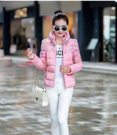 Fashion  Winter Women Down Cotton Parka Short Fur Collar  Coat Jacket