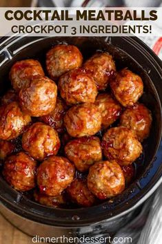 Cocktail Meatballs are the PERFECT appetizer made with frozen meatballs, grape jelly, and chili sauce, easy to throw together and only 3 ingredients! recipes easy 3 ingredients oven Cocktail Meatballs - Dinner, then Dessert Brunch Recipes, Appetizer Recipes, Dinner Recipes, Appetizers, Brunch Food, Grape Jelly Meatballs, Healthy Recipes, Crockpot Recipes, Soup Recipes