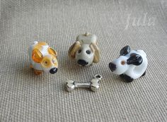 Dog Pandora bead European bead Lampwork bead Dog charm