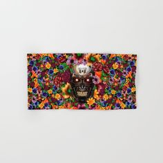 Sugar Chrome skull terminator face HAND & BATH TOWEL  #hand #bath #towel #painting #digital #ink #watercolor #popart #comic #pattern #dayofthedead #sugarskull #diadelosmuertos #flower #rose #daisy #terminator #robot #cyborg #sciencefiction