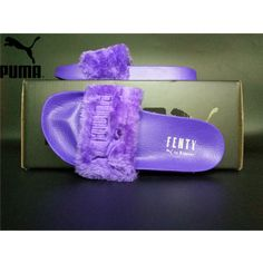 2452985c12d196 Women s Puma x Rihanna Leadcat Fenty Fur Slide Sandals Purple