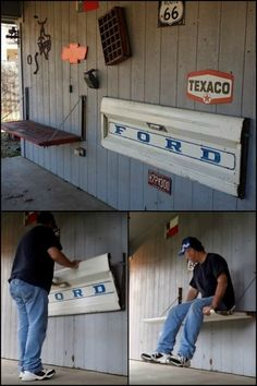 man cave garage Learn How To Build A Tailgate Wall Bench Garage Furniture, Car Part Furniture, Automotive Furniture, Automotive Decor, Diy Furniture Projects, Recycled Furniture, Recycled Wood, Wooden Furniture, Home Furniture