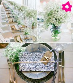 Mesas do casamento com decoração de mosquitinho