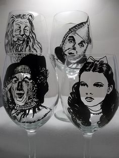 Wizard of Oz Wine Glass Movie Classics painted by RealGlassAct, $64.00