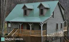 Image result for green metal roof house