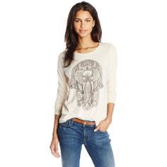 Lucky Brand Women's Hamsa Elephant Tee ($21) ❤ liked on Polyvore featuring tops, t-shirts, graphic design t shirts, long sleeve t shirt, long sleeve tops, long sleeve graphic t shirts and white long sleeve top