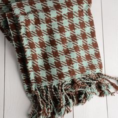 Twill Houndstooth Cotton Throw Blanket in Chocolate and Light Blue.