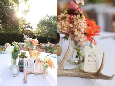 Ft. Worth wedding- the hunt is over! perfect table settings with gold dipped floral vessels, antlers, succulents, and the perfect amount of florals! I'm completely in love.