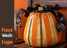Faux Washi Tape Pumpkins with Mod Podge and Burlap Ribbon – Video and How to