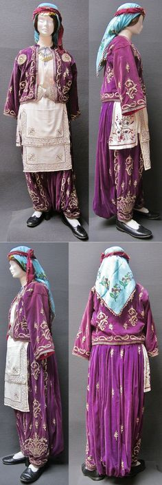 Traditional festive costume from the Silivri district (West of Istanbul, Trakya/Thrace).  Turkish, 1900-1925.  The velvet 'cepken' (long-sleeved vest) & 'şalvar' (baggy trousers) are adorned with 'goldwork' embroidery in 'Maraş işi'-technique.  The circular sunflower-like motif on the vest bears a star & crescent design (= Turkish flag) in its center.  (Kavak Costume Collection - Antwerpen/Belgium).