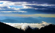 Sunrise in the Blue Ridge Mountains near Asheville