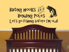 Baiting Hooks Bending Poles Lets Go Fishing Wall Decal-Boy Girl Nursery and Baby Decal Fishing Hunting decal Kids Room Decal Bedroom, Living by JobstCo on Etsy https://www.etsy.com/listing/223263186/baiting-hooks-bending-poles-lets-go