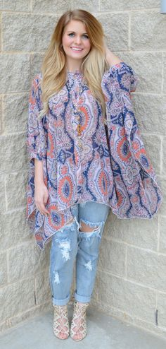Mixed Up In Paisley Top from Haute Pink Boutique