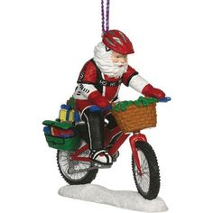 Mountain Bike Santa Ornament. #Christmas #NewYear #Ornament #Decor #giftidea #Gift #gosstudio .★ We recommend Gift Shop: http://www.zazzle.com/vintagestylestudio ★