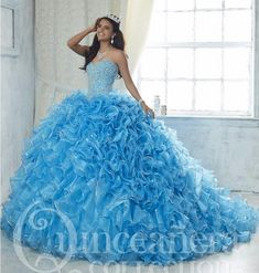 Ice Blue 2017 Ball Gown Quinceanera Dresses Tiered Ruffles Sweet 16 Year Princess Dresses For 15 Years Vestidos De 15 Anos