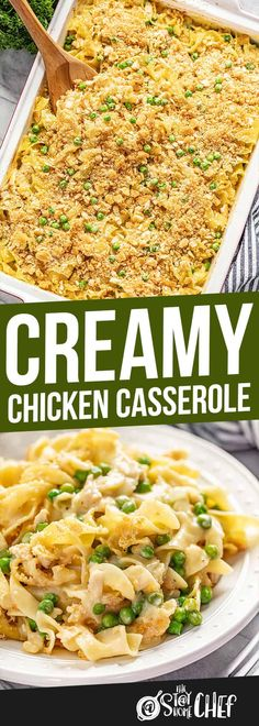 Creamy Chicken Cassserole Creamy Chicken Casserole has a made-from-scratch sauce and a crunchy parmesan Ritz topping that takes it over the top. Your family will love this easy dinner! Poppy Seed Chicken Casserole, Creamy Chicken Casserole, Creamy Chicken And Rice, Noodle Casserole, Casserole Dishes, Hamburger Casserole, Casserole Recipes, Pasta Recipes, Chicken Recipes