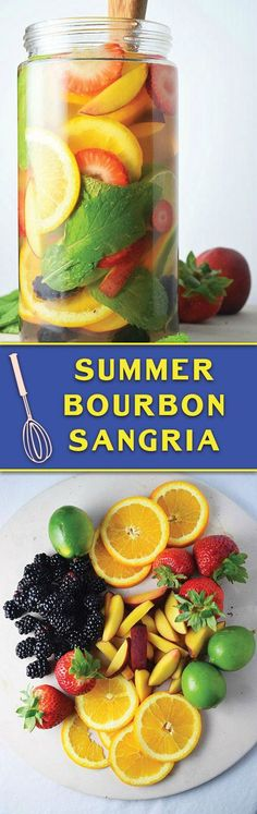 Make this non-alcoholic = Add brewed tea, seltzer, etc. === Summer Bourbon Sangria - tons of fresh summer fruits, the best wine & bourbon combo, this SANGRIA is one my friends & family always demand! Refreshing Drinks, Summer Drinks, Fun Drinks, Summer Sangria, Tequila Sangria, Summer Parties, Beverages, Bourbon Drinks, Cocktail Drinks