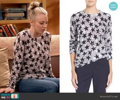 Penny's grey star print sweater on The Big Bang Theory.  Outfit Details: https://wornontv.net/66593/ #TheBigBangTheory