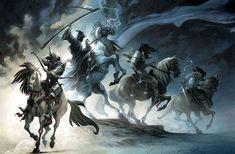 four horsemen of the apocalypse My Fantasy World, Fantasy Art, Four Horsemen Of The Apocalypse Tattoo, Art Apocalypse, Les Quatre Cavaliers, Rennaissance Art, Pale Horse, Art Gallery, Beautiful Dark Art