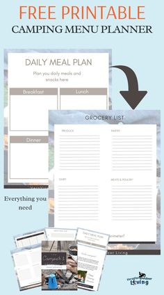 Camping is about relaxing in the great outdoors. If you don't want to spend all your time prepping and cooking, you need a plan. Get our FREE Camping Menu Planner when you sign up for our FREE 5 Day RV Camping Email Course. #camping #rvliving #menuplanner