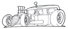 rat rod cars Colouring Pages
