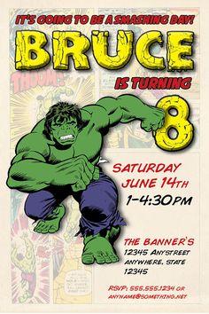 The Incredible Hulk Theme - Birthday Invitation- DIY Printable Invitation - By Cici and Bobo Hulk Birthday, Birthday Party Themes, Birthday Ideas, Printable Invitations, Birthday Invitations, Hulk Party, Incredible Hulk, Projects For Kids, Birthdays
