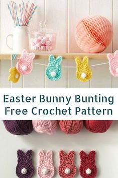 Cutest Easter Crochet Bunny Bunting Free Pattern # easter crochet crafts Cutest Easter Crochet Bunny Bunting Free Pattern - Knit And Crochet Daily Crochet Bunting Pattern, Knitted Bunting, Easter Bunny Crochet Pattern, Crochet Teddy Bear Pattern, Crochet Garland, Crochet Rabbit, Cute Crochet, Crochet Crafts, Crochet Projects